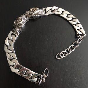 Gucci double tiger sterling silver link bracelet